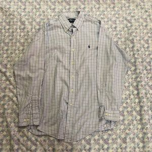 Ralph Lauren Plaid Baby Blue LS Dress Shirt